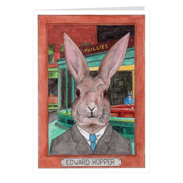 Edward Hopper Zooseum Greeting Card - Punny Animal Artist - Edward Hopper