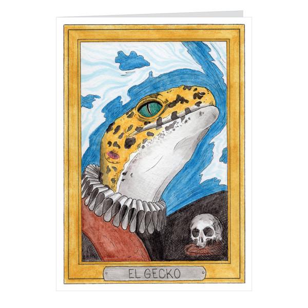 El Gecko Zooseum Greeting Card - Punny Animal Artist - El Greco