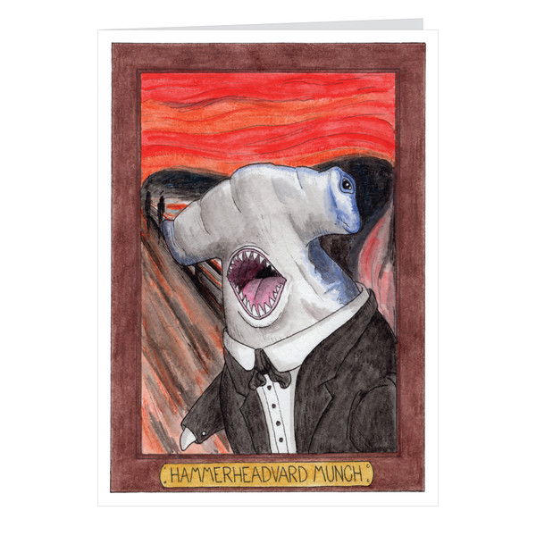Hammerheadvard Munch Zooseum Greeting Card - Punny Animal Artist - Edvard Munch