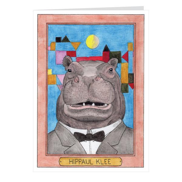 Hippaul Klee Zooseum Greeting Card - Punny Animal Artist - Paul Klee
