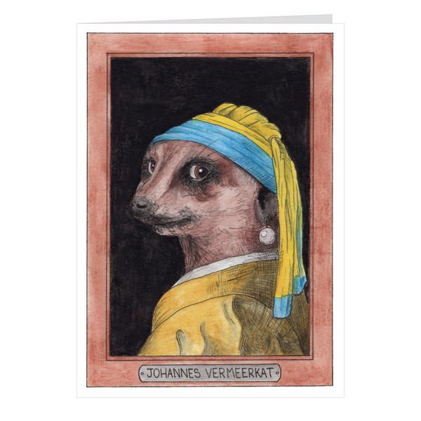 Johannes Vermeerkat Zooseum Greeting Card - Punny Animal Artist - Johannes Vermeer