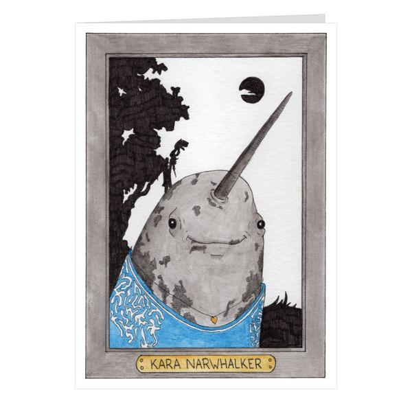 Kara Narwhalker Zooseum Greeting Card - Punny Animal Artist - Kara Walker