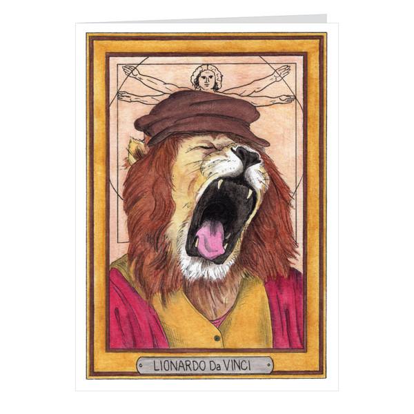 Lionardo Da Vinci Zooseum Greeting Card - Punny Animal Artist - Leonardo Da Vinci