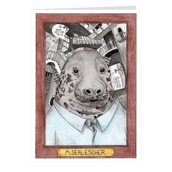 M Seal Escher Zooseum Greeting Card - Punny Animal Artist - MC Escher