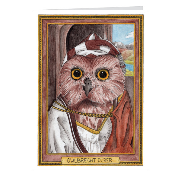 Owlbrecht Durer Zooseum Greeting Card - Punny Animal Artist - Albrecht Durer