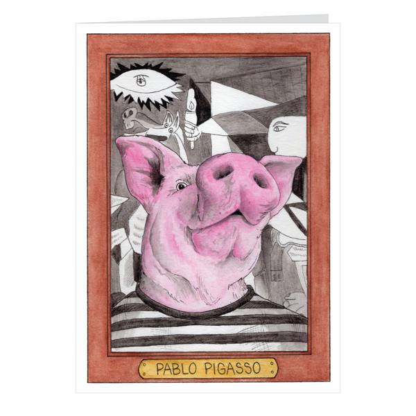Pablo Pigasso Zooseum Greeting Card - Punny Animal Artist - Pablo Picasso