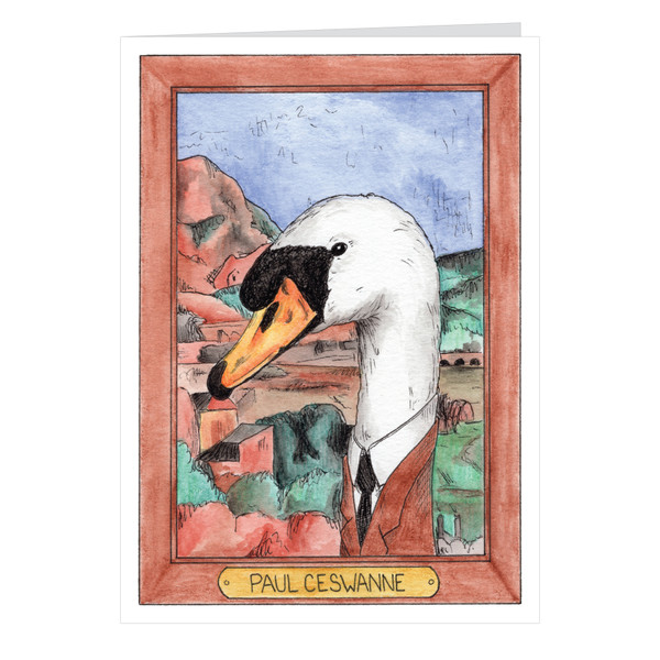 Paul Ceswanne Zooseum Greeting Card - Punny Animal Artist - Paul Cezanne