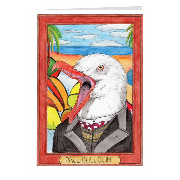 Paul Gullguin Zooseum Greeting Card - Punny Animal Artist - Paul Gauguin