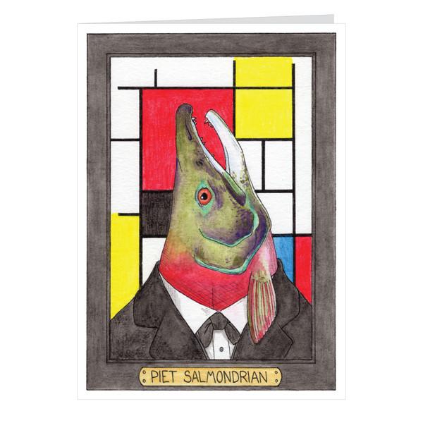 Piet Salmondrian Zooseum Greeting Card - Punny Animal Artist - Piet Mondrian