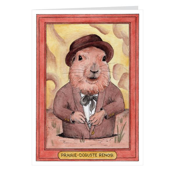 Prairie-Doguste Renoir Zooseum Greeting Card - Punny Animal Artist - Pierre-Auguste Renoir