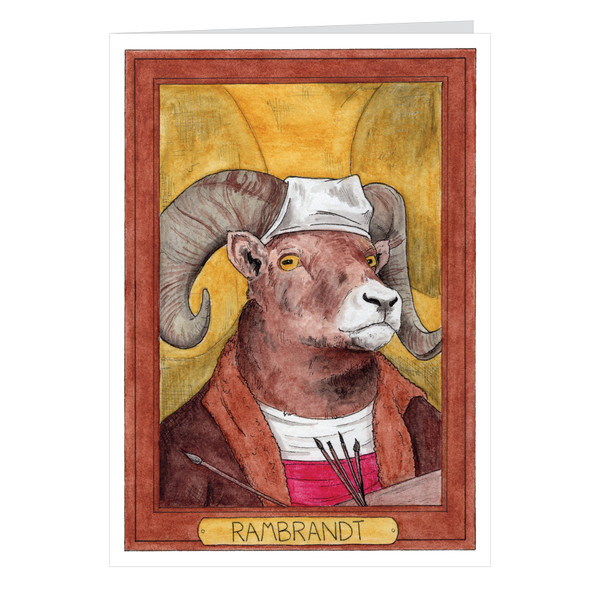 Rambrandt Zooseum Greeting Card - Punny Animal Artist - Rembrandt