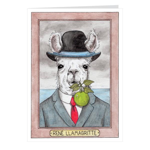 Rene Llamagritte Zooseum Greeting Card - Punny Animal Artist - Rene Magritte