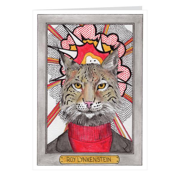 Roy Lynxenstein Zooseum Greeting Card - Punny Animal Artist - Roy Lichtenstein