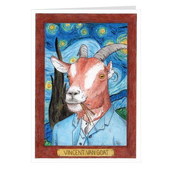 Vincent Van Goat Zooseum Greeting Card - Punny Animal Artist - Vincent Van Gogh