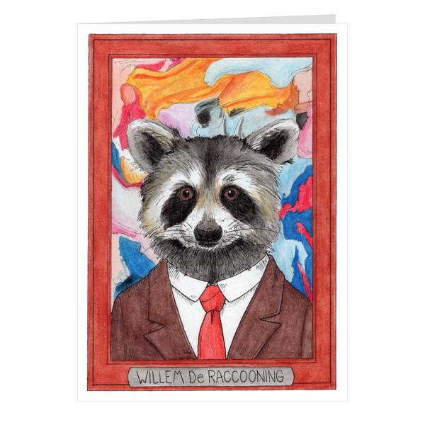 Willem De Raccooning Zooseum Greeting Card - Punny Animal Artist - Willem De Kooning