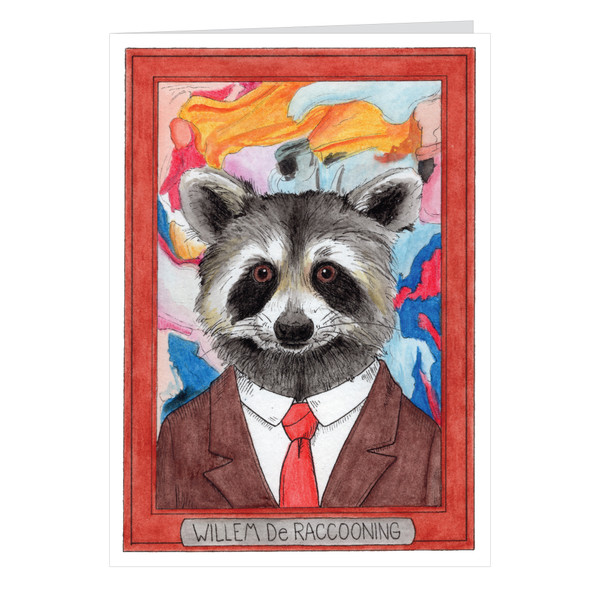 Willem De Raccooning Zooseum Greeting Card - Punny Animal Artist - Willem De Kooning