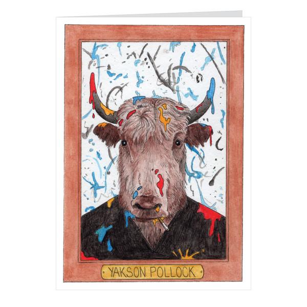 Yakson Pollock Zooseum Greeting Card - Punny Animal Artist - Jackson Pollock