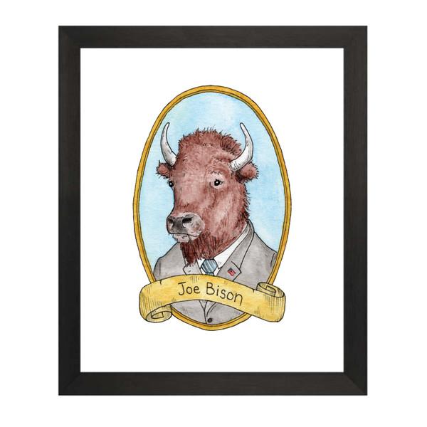 Joe Bison / Joe Biden PreZOOdents Art Print 8x10 Framed