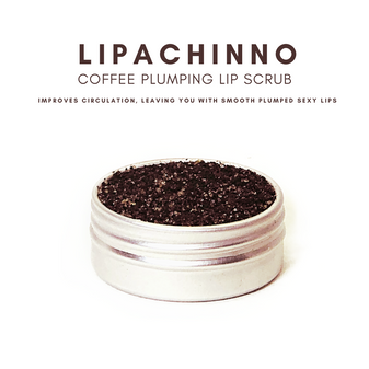 Lipachinno is a coffee lip scrub has caffeine and increases blood flow.