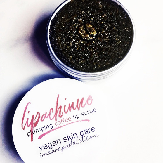 Lippachino is a coffee lip scrub has caffeine and increases blood flow. If you are caffeine sensitive DO NOT eat the scrub you can become jittery.