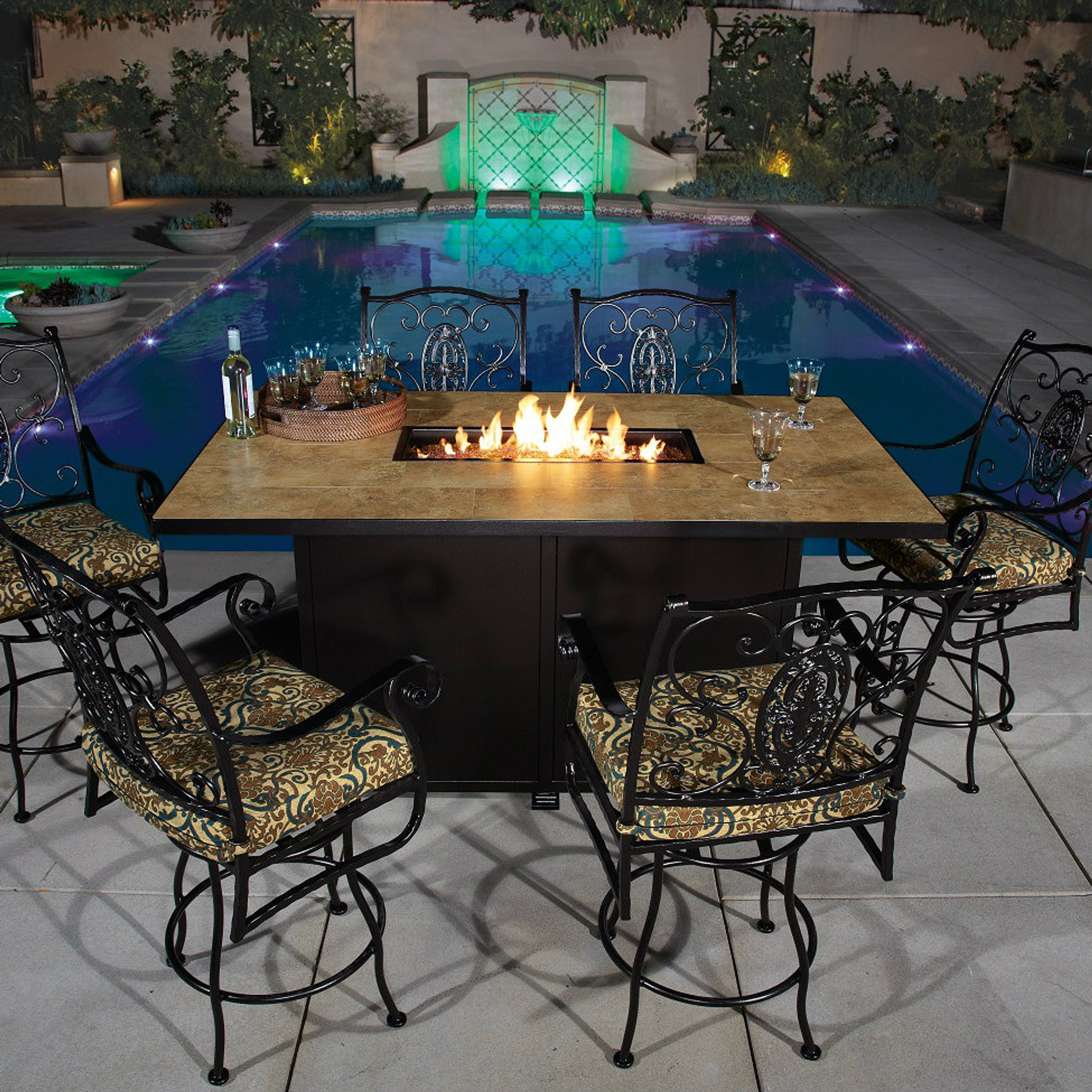 Santorini 42in X 72in Counter Height Fire Pit By Ow Lee