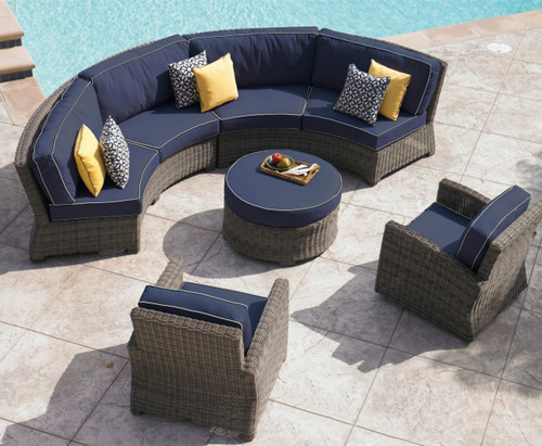bainbridge curved contoured sofa sectional, outdoor sectional seating, wicker outdoor seating, curved patio furniture, north cape international
