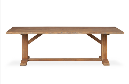 "Teak 99"" Rectangular Live Edge Dining Table"