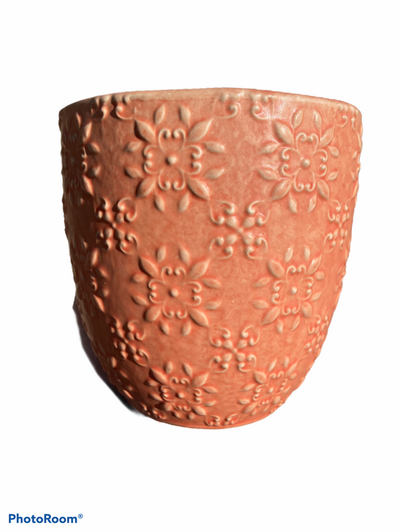 "Medallion - 5"" Ceramic Pot - Salmon"