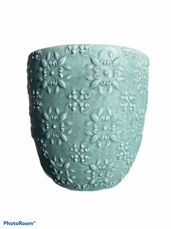"Medallion  - 5"" Ceramic Pot - Blue"