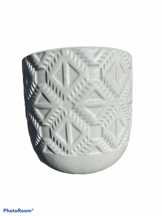"Geometric Design - 5"" Ceramic Pot - White"