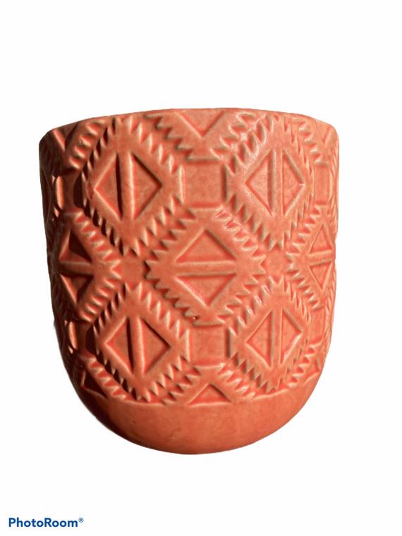 "Geometric Design - 5"" Ceramic Pot - Salmon"
