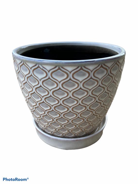 "Fish Scale Patterned Pot - 5"" Ceramic Pot w/ Saucer"