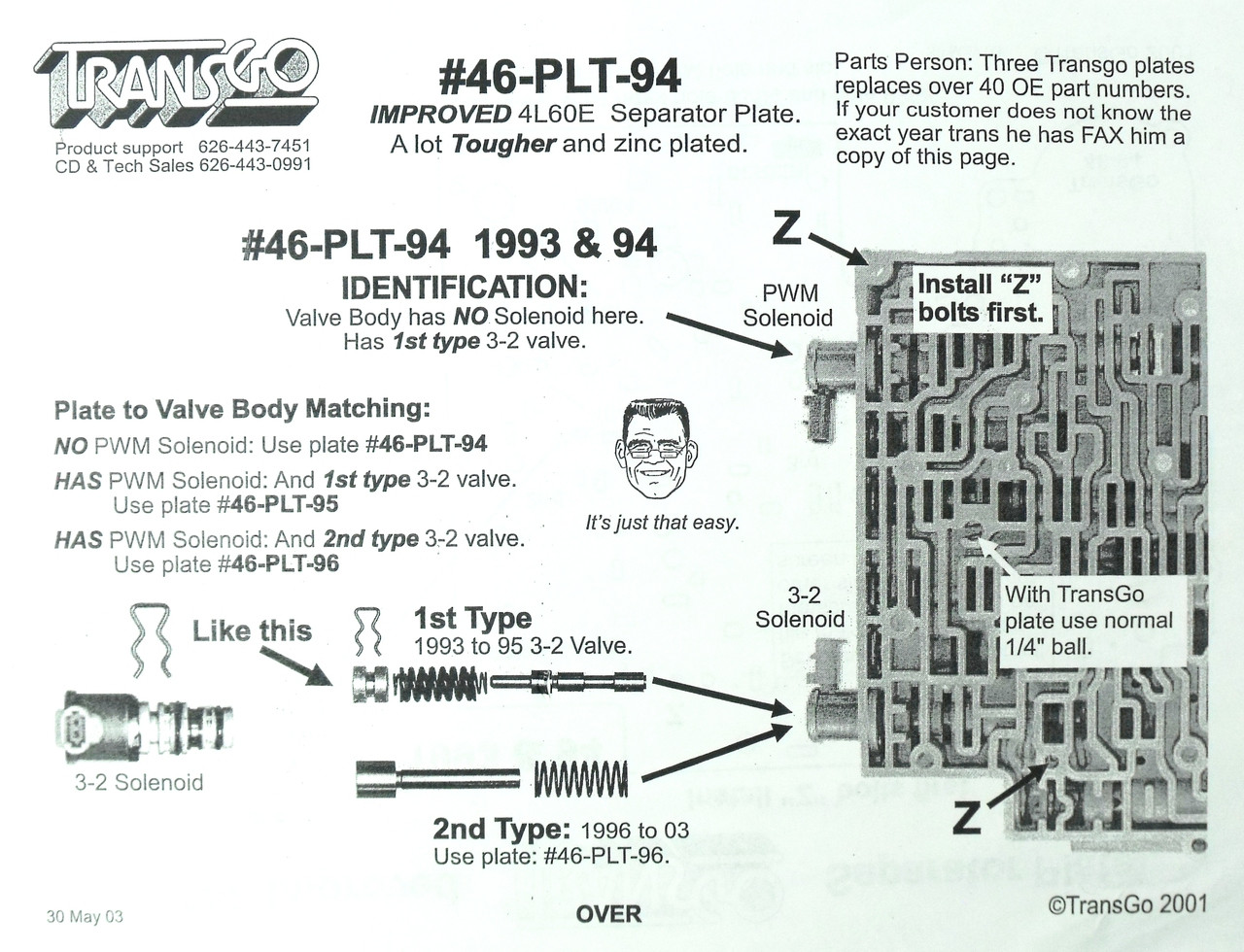 4L60E New Heavy Duty Zinc Plated Valve Body Plate 1996-2006 Transgo # 46-PLT-96