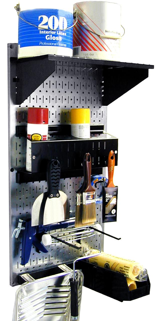 Pegboard Paint Supplies Organizer Kit Metallic Toolboard Black Accessories