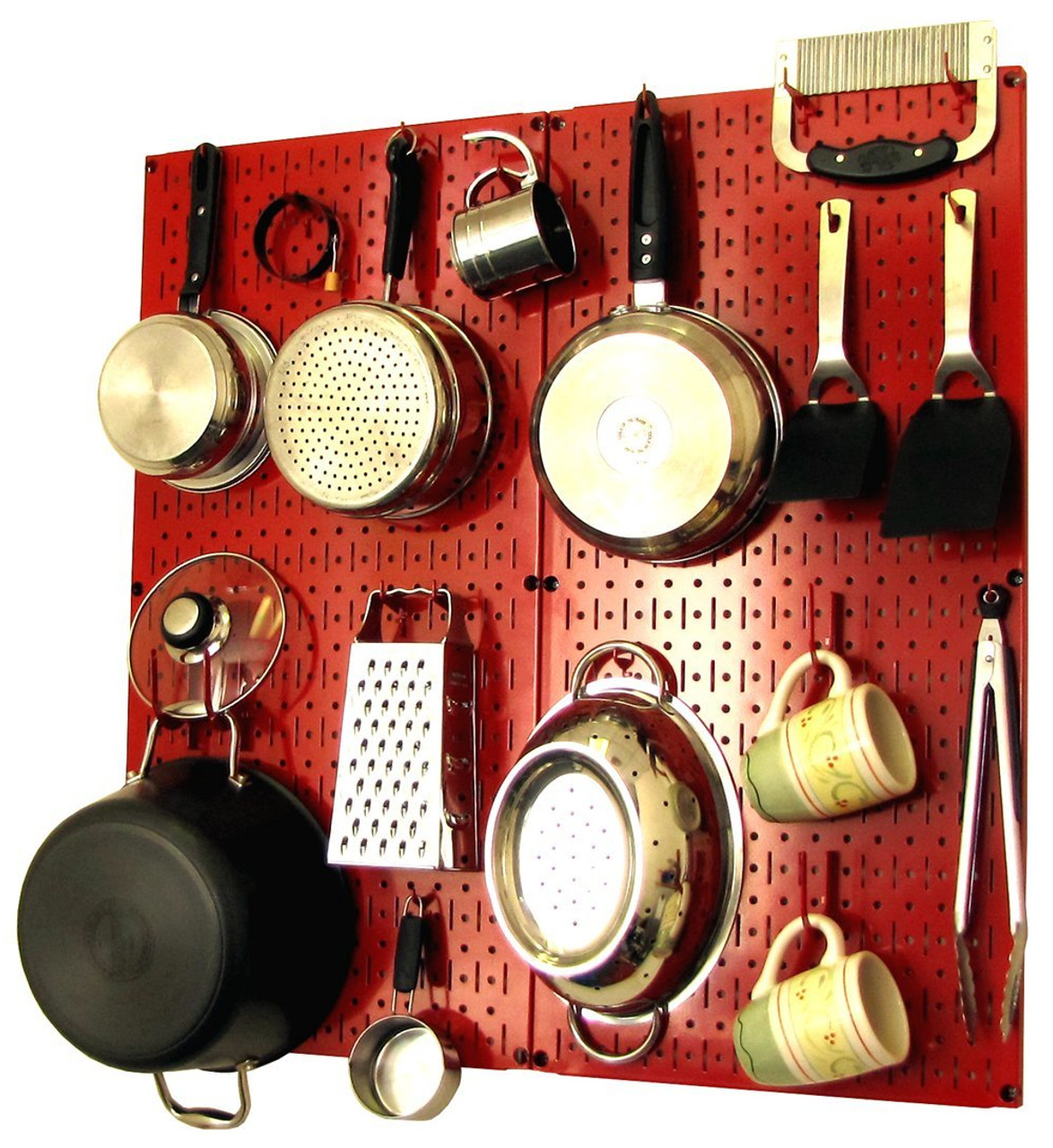 Red Chic Kitchen Pegboard Organizer - Modern Hanging Pot ...