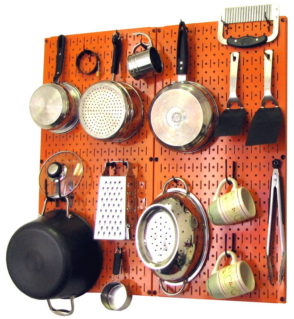 Kitchen Pegboard Organizer Kit Pots & Pans Rack - Orange Pegboard with Hooks