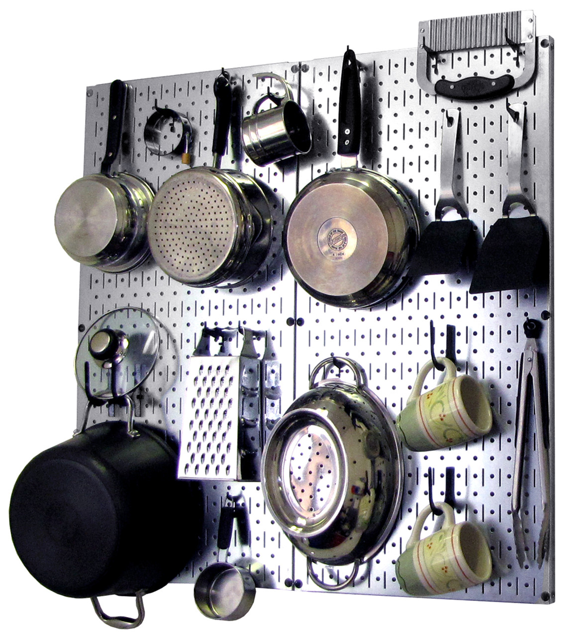 Steel Kitchen Pegboard Organizer Metallic Hanging Pot Rack Wall