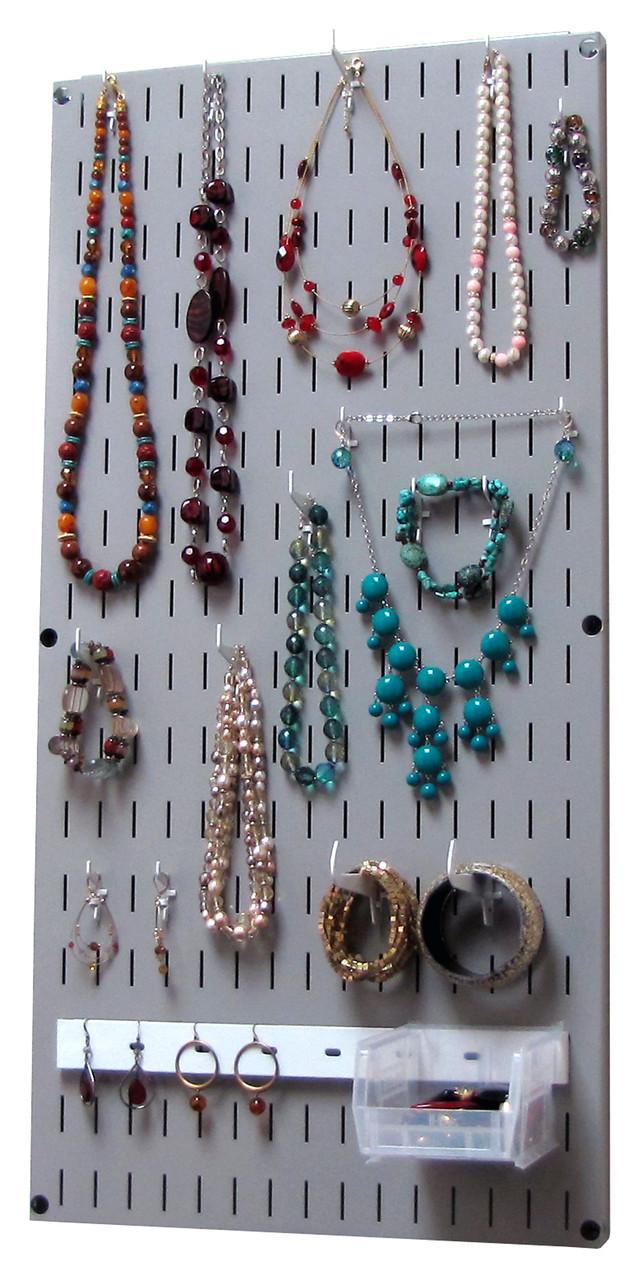 Jewelry Pegboard Organizer Gray Necklace Rack Hanger Grey Wall