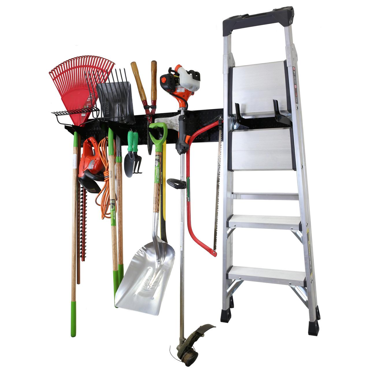 Garage Storage Lawn Garden Tool Organization Wall Organizer Rack Black Pegboard With Accessories