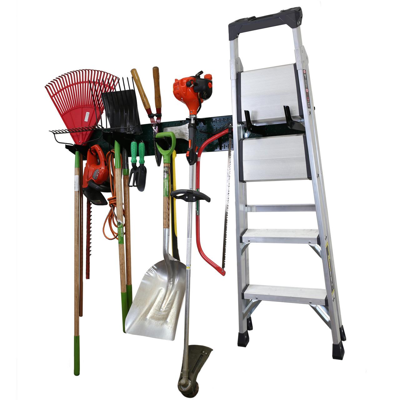 garage storage lawn & garden tool organization wall organizer rack - green  pegboard with accessories