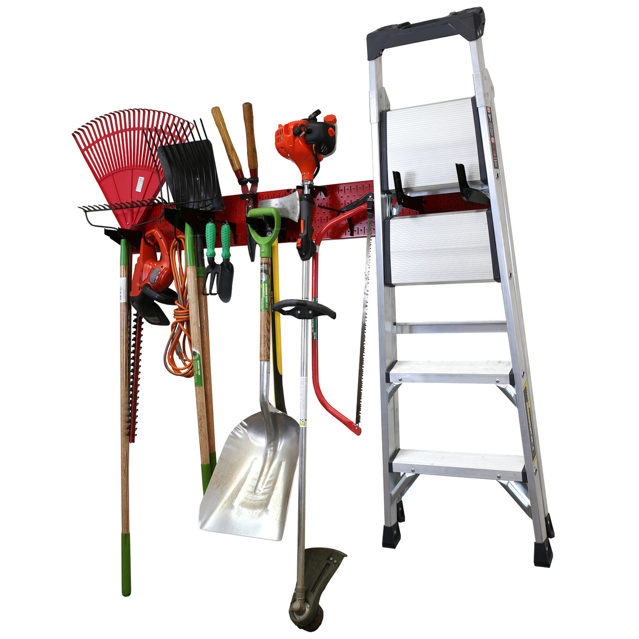 Garage Storage Lawn Garden Tool Organization Wall Organizer Rack Red Pegboard With Accessories