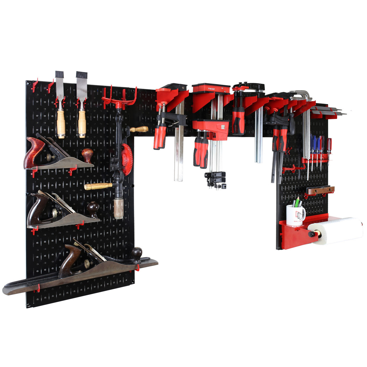 Lazy Guy Diy Maker Woodworking Tool Storage Organizer Set Black Metal Pegboard With Accessories