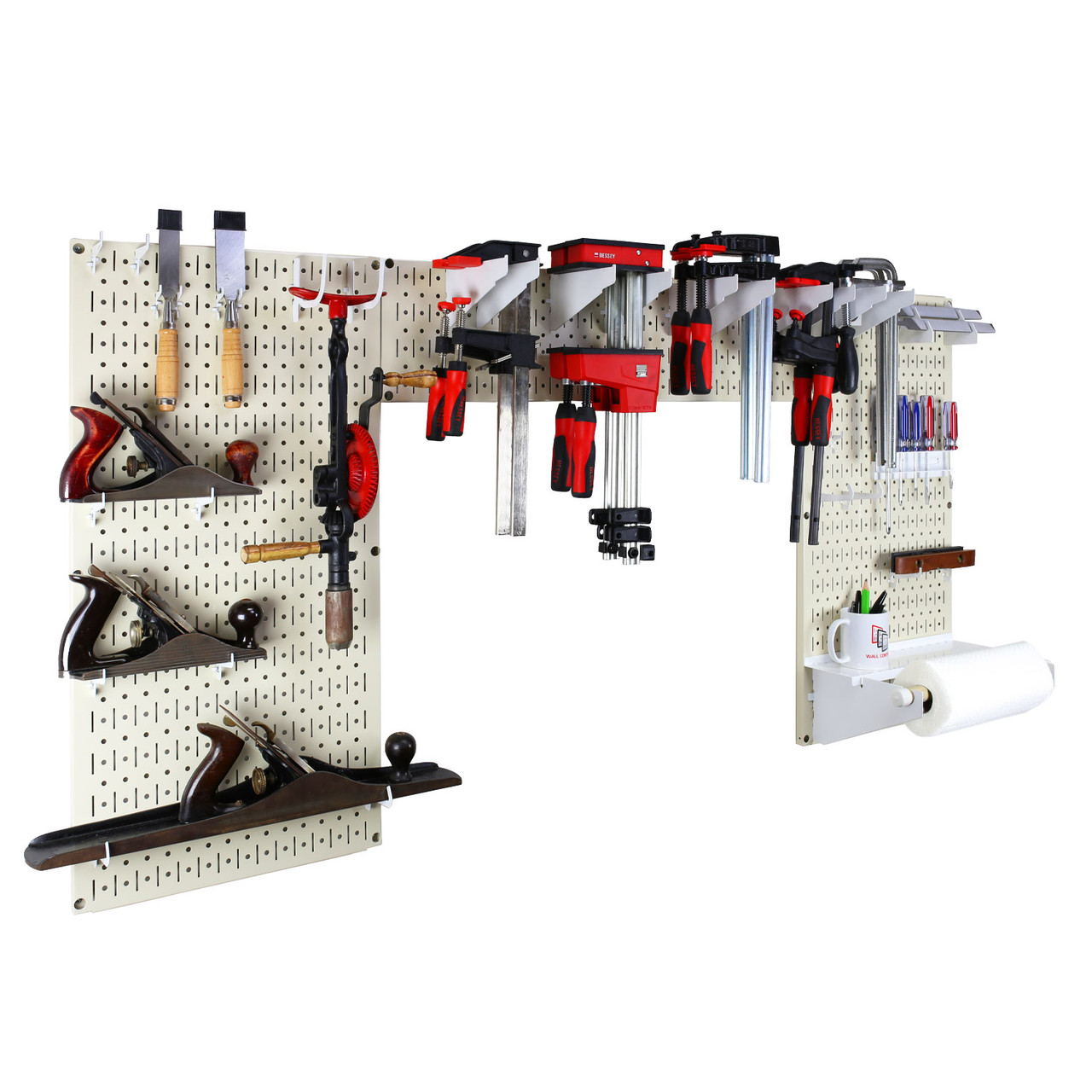 Lazy Guy Diy Maker Woodworking Tool Storage Organizer Set Beige Metal Pegboard With Accessories