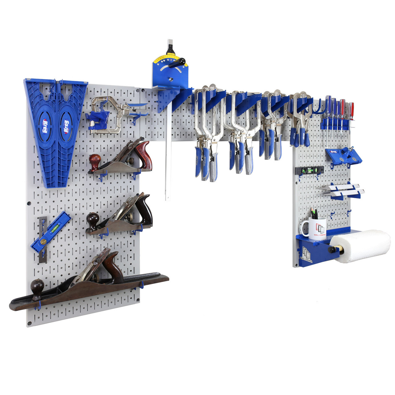 Lazy Guy Diy Maker Woodworking Tool Storage Organizer Set Grey Metal Pegboard With Accessories
