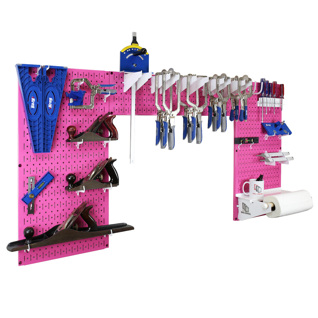 Lazy Guy Diy Maker Woodworking Tool Storage Organizer Set Pink Metal Pegboard With Accessories