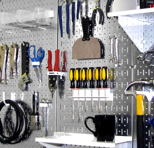 Galvanized Steel Pegboard Shiny Metallic Wall Control