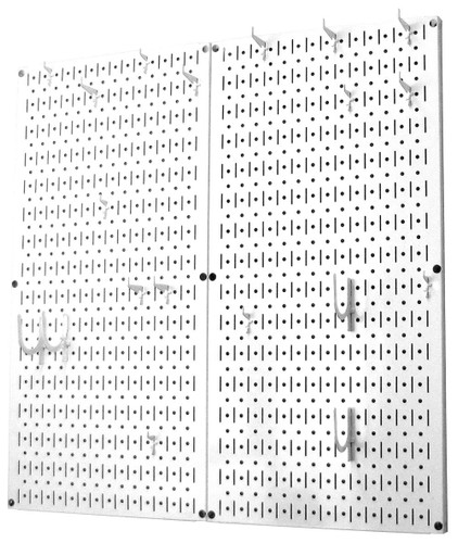 White Kitchen Pegboard Organizer Magnetic Hanging Pot Rack Wall Control