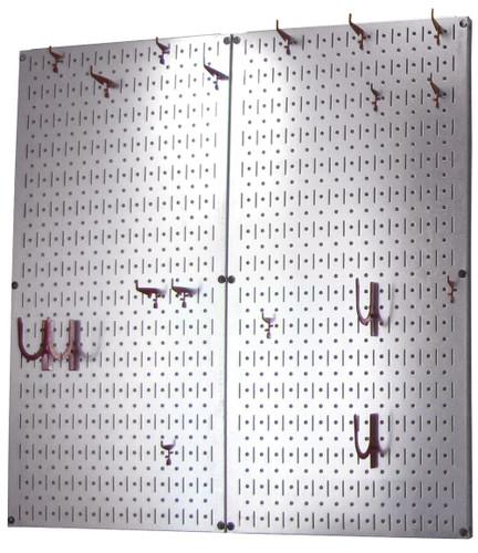 Steel Kitchen Pegboard Organizer Metallic Hanging Pot Rack Wall Control