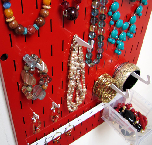 Jewelry Pegboard Organizer Red Necklace Rack Hanger