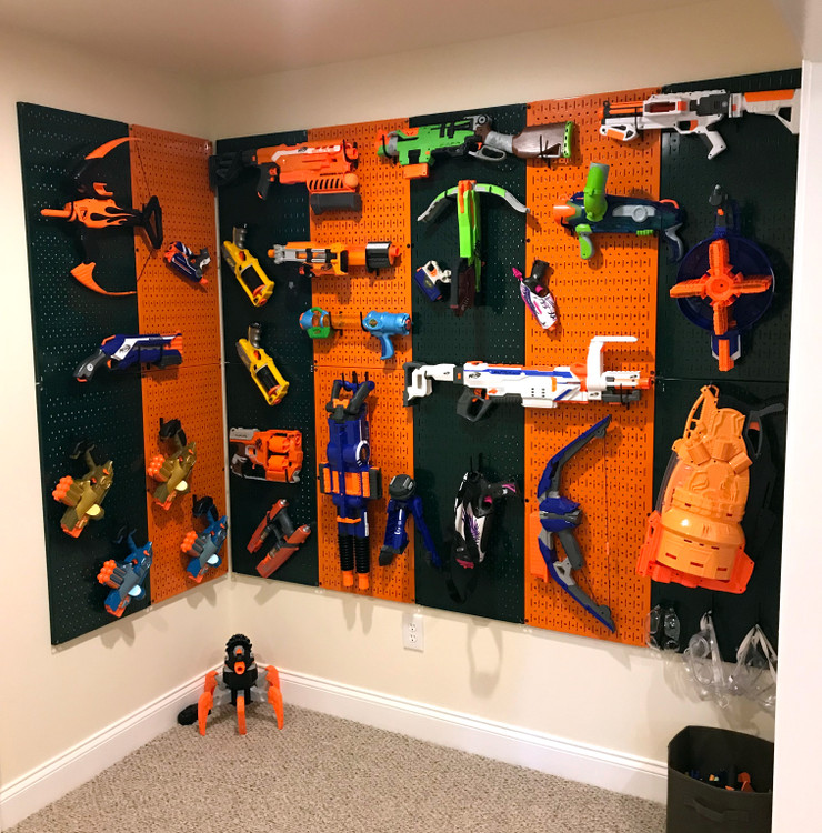 Team School Themed Pegboard Toy Storage System for Nerf Guns